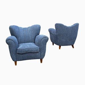 Poltrone vintage blu, set di 2