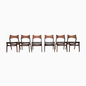 Chaises de Salle à Manger Modèle 310 en Teck par Erik Buch, Set de 6