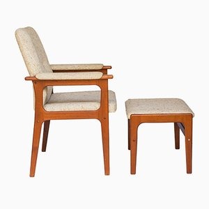 Danish Teak Armchair & Stool from O.D. Møbler, 1960s