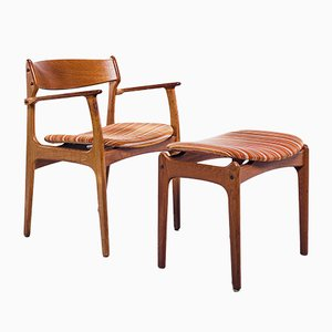 Dining Chairs and Stool Set by Erik Buch for O.D. Møbler, 1960s