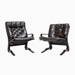 Vintage Leather Armchairs by Elsa & Nordahl Solheim for Oddvin Rykken, Set of 2