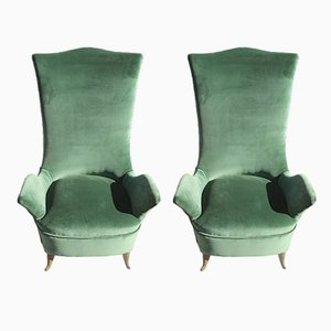 Green Velvet Armchairs from ISA Bergamo, 1950s, Set of 2