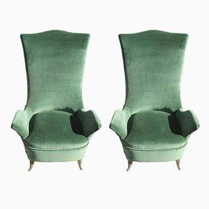 Grüne Samtsessel von ISA Bergamo, 1950er, 2er Set