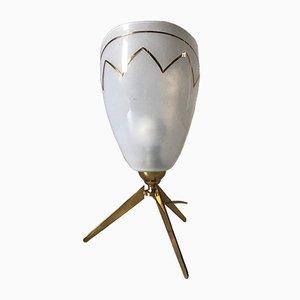 Lámpara trípode vintage de latón y vidrio, años 60