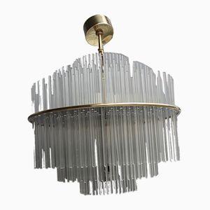 Round Crystal and Brass Pendants by Gaetano Sciolari, 1970s, Set of 2