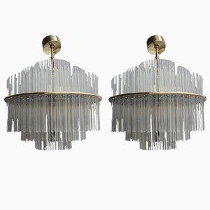 Lámparas colgantes redondas de cristal y latón de Gaetano Sciolari, años 70. Juego de 2