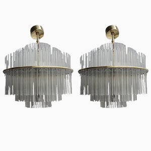 Round Crystal and Brass Pendants by Gaetano Sciolari, 1970s, Set of 2