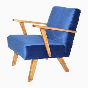 Small Vintage Velvet Armchair, 1970s