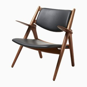 CH28 Sawbuck Oak & Black Leather Easy Chair by Hans J. Wegner for Carl Hansen & Son, 1950s