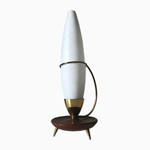 Lámpara con trípode vintage de teca y latón de Philips, años 60