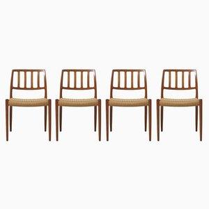 Modell 83 Esszimmerstühle aus Teak von Niels O. Møller für J. L. Møllers , 4er Set