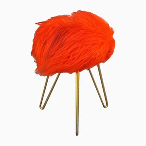 Vintage Fluffy Stool, 1960s