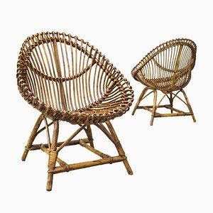 Chaises en Rotin de Vittorio Bonacina, 1960s, Set de 2
