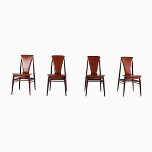 Vintage Scandinavian Cognac Leather & Rosewood Chairs, Set of 4