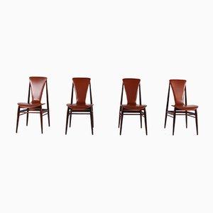 Vintage Scandinavian Cognac Leather & Rosewood Chairs, Set of 4