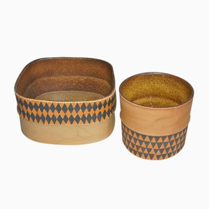 Frascos vintage de cerámica de Stig Lindberg para Gustavsberg. Juego de 2