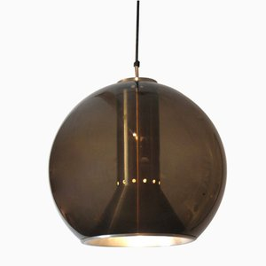Vintage Smoked Glass Globe Pendant Light by Frank Ligtelijn for Raak, 1960s
