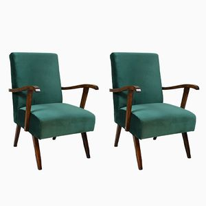 Vintage Green Velvet Armchairs, 1970s, Set of 2