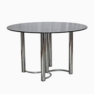 Round Black Glass Dining Table, 1980s