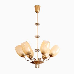 Brass Chandelier by Paavo Tynell for Oy Taito Ab, 1949