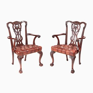 Antique Carved Mahogany Claw & Ball Armchairs, 1880s, Set of 2