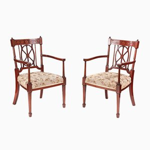 Antique Mahogany Inlaid Armchairs, Set of 2