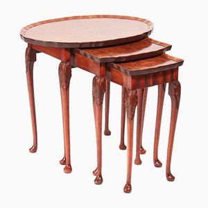 Vintage Burr Walnut Nesting Tables, 1920s