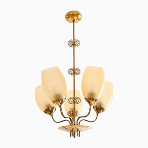 Brass 5-Arm Chandelier by Paavo Tynell for Oy Taito Ab, 1949