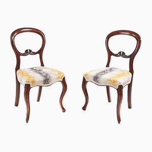 Viktorianische Beistellstühle aus Nussholz, 1860er, 2er Set