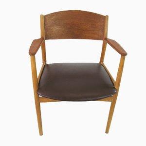 Vintage Schreibtischstuhl mit Sitz aus Leder von Borge Mogensen für Søborg Møbelfabrik, 1955