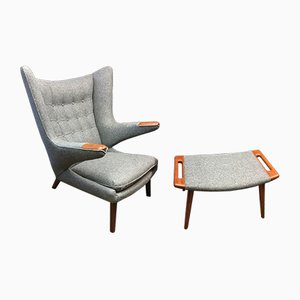 Model AP19 Chair and AP29 Ottoman by Hans J. Wegner for A. P. Stolen, 1960s