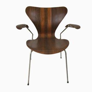 Fauteuil 3207 en Palissandre par Arne Jacobsen pour Fritz Hansen, 1955