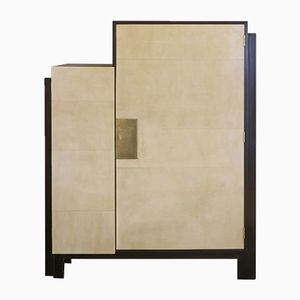 Tall French Wood & Parchment Cabinet, 1960s