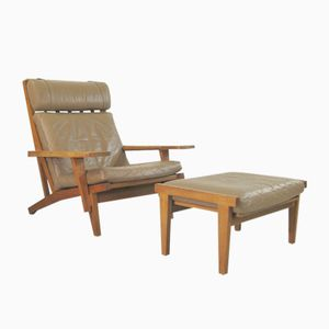 Vintage Model GE 375 Arm Chair & Footstool by Hans J. Wegner for Getama