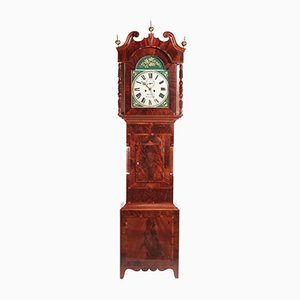 19th-Century Mahogany Eight Day Painted Longcase Clock