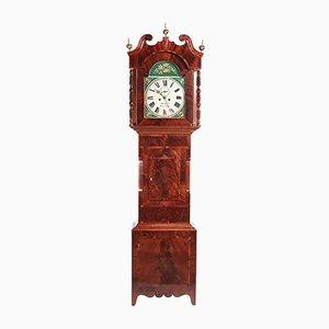 Reloj de caja alta Eight Day de caoba pintado, siglo XIX