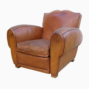 French Leather Club Chair, 1930s