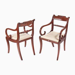 Regency Schreibtischstühle aus Mahagoni, 2er Set