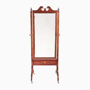 Antique Mahogany Inlaid Cheval Mirror, 1890s