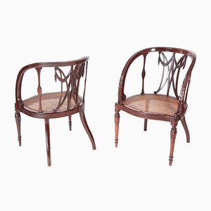 Antique Mahogany Hepplewhite Style Library Chairs, 1880, Set of 2