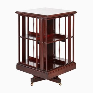 Drehbares Bücherregal aus Mahagoni mit Intarsien