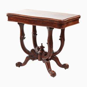 Antiker viktorianischer Kartentisch aus Walnuss-Wurzelholz, 1860er