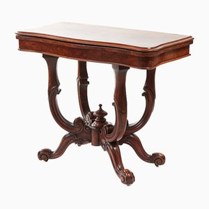 Table à Cartes Victorienne Antique en Loupe de Noyer, 1860s