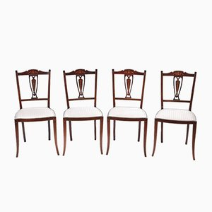 Antique Mahogany Inlaid Dining Chairs, Set of 4