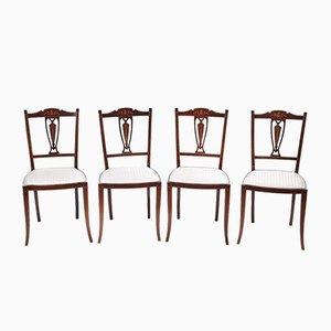 Sedie da pranzo antiche intagliate in mogano, set di 4