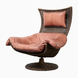 Leather & Rattan Swivel Lounge Chair by Gerard vd Berg for Montis, 1970s