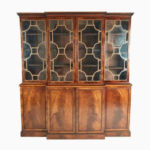 Antique Mahogany Astragal Glazed Breakfront Bookcase