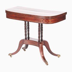 Table à Cartes Regency en Acajou Incrusté de Laiton