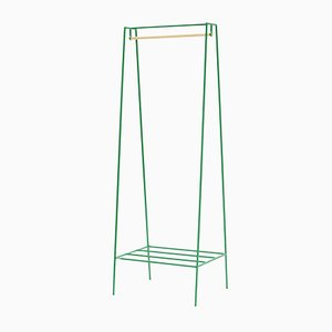 A Clothes Rail in Green with a Pine Pole by &New