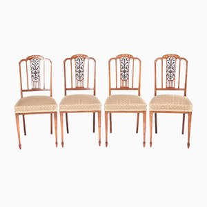 Edwardian Inlaid Rosewood Dining Chairs, Set of 4